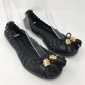 Tory Burch Reese Tassel Ballet Black Flats